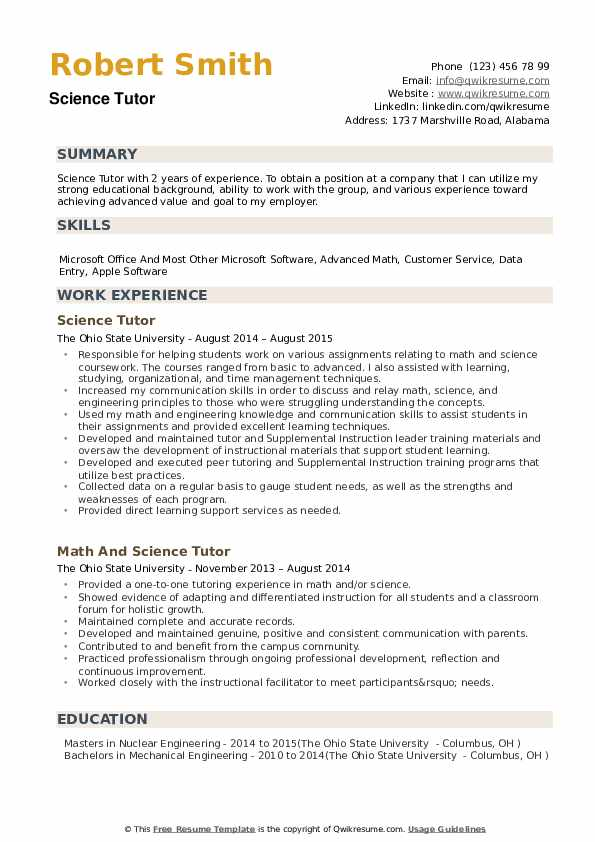 science tutor resume samples