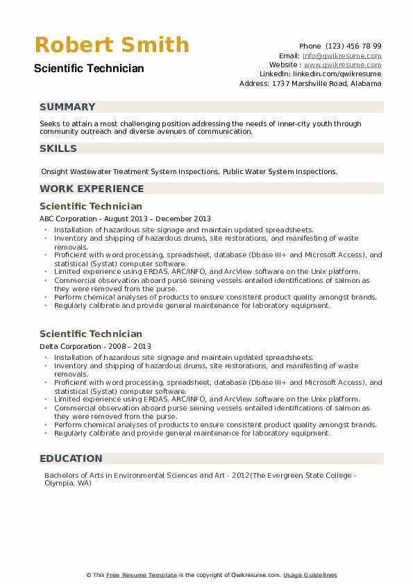 Scientific Technician Resume example