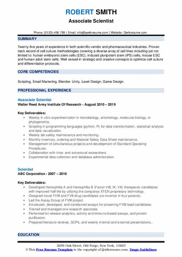 Associate Scientist Resume Sample