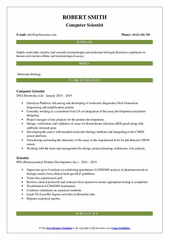 Computer Scientist Resume Example