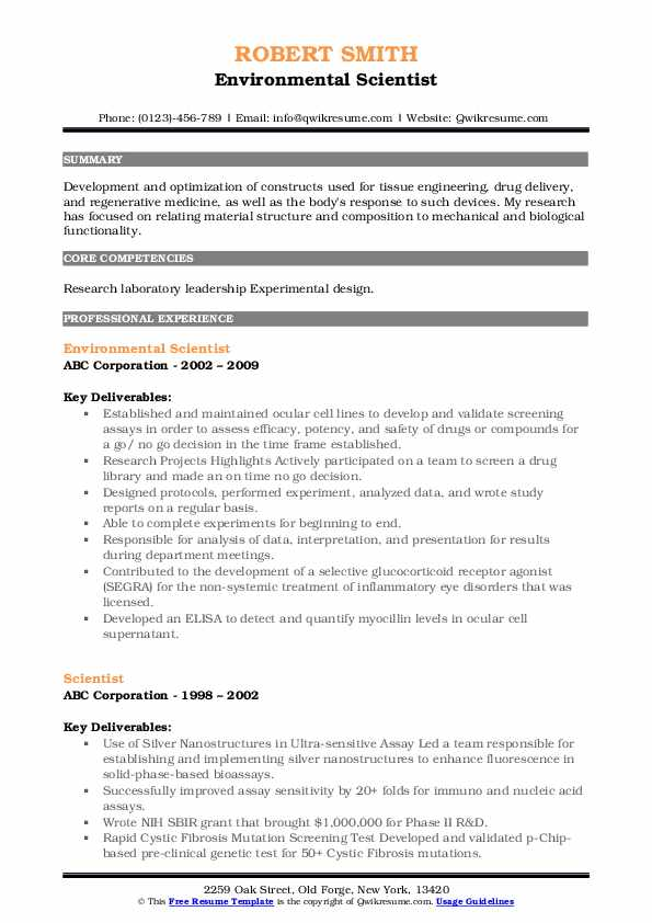 Environmental Scientist Resume Model