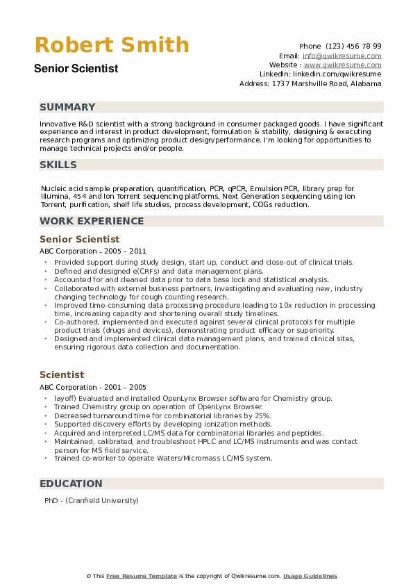 Senior Scientist Resume Example