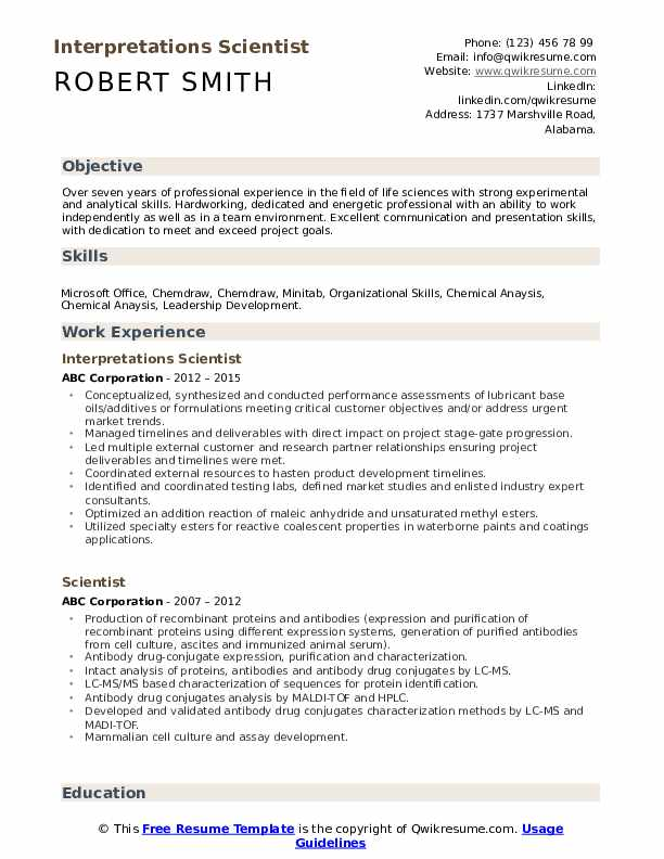 Interpretations Scientist Resume Model
