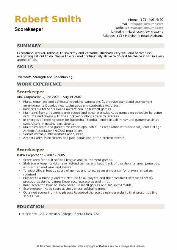 Scorekeeper Resume example