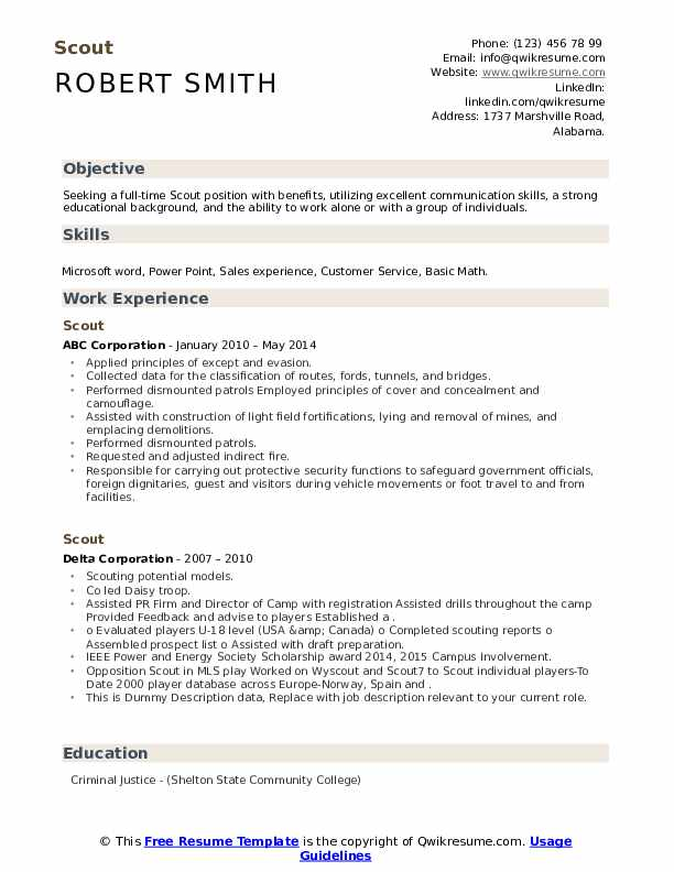 scout resume samples  qwikresume