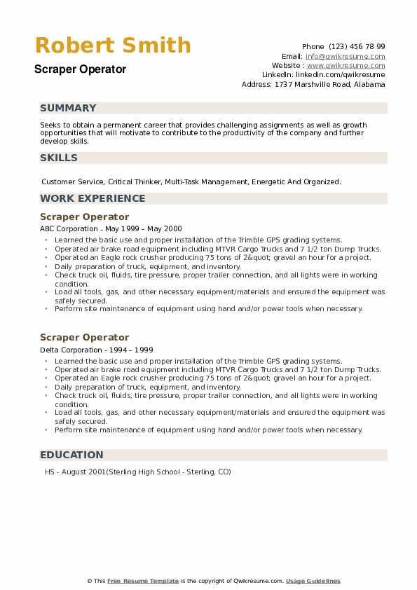 Scraper Operator Resume example