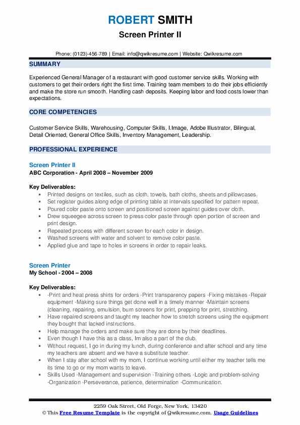 Screen Printer II Resume Sample