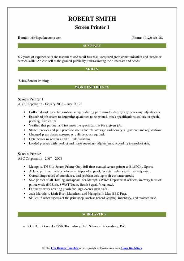 Screen Printer I Resume Example