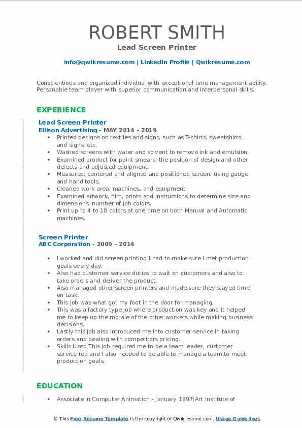 Lead Screen Printer Resume Sample