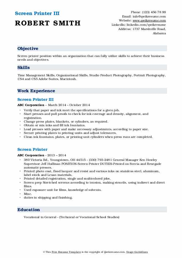 Screen Printer III Resume Example