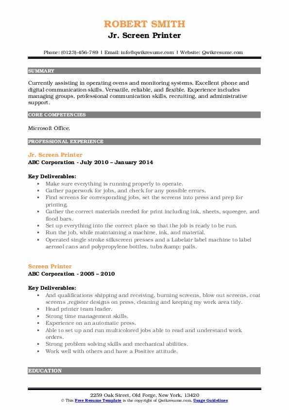 Jr. Screen Printer Resume Template