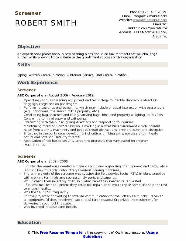 Screener Resume Template
