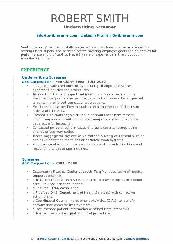 Underwriting Screener Resume Format