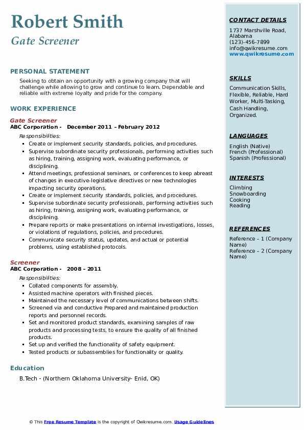 Gate Screener Resume Format