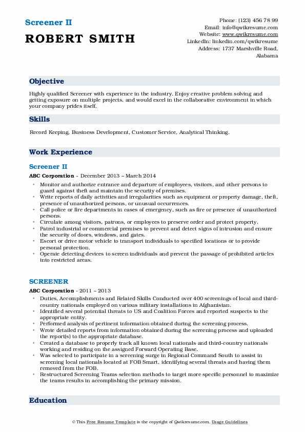 Screener II Resume Model