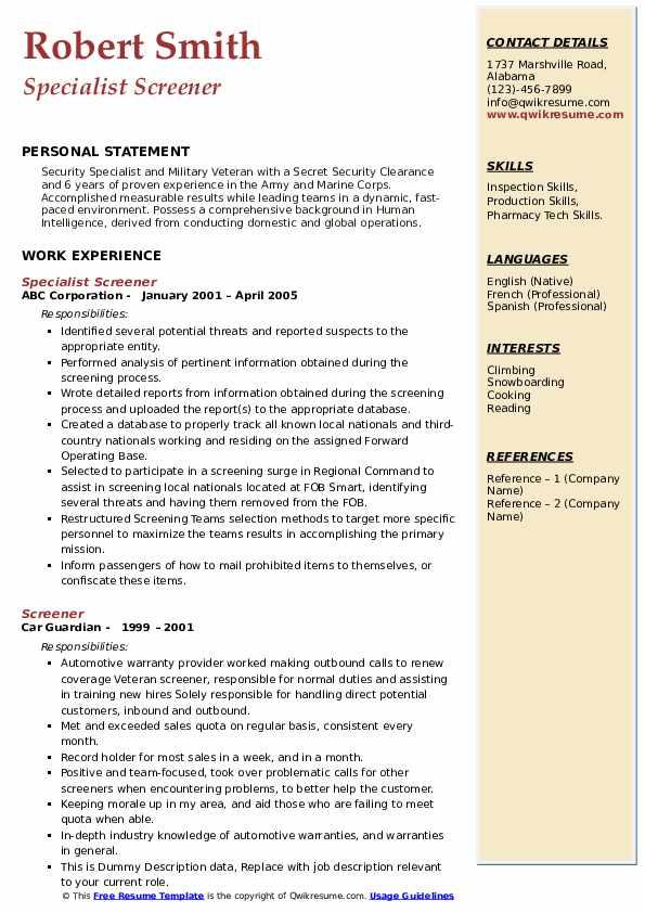 Specialist Screener Resume Example