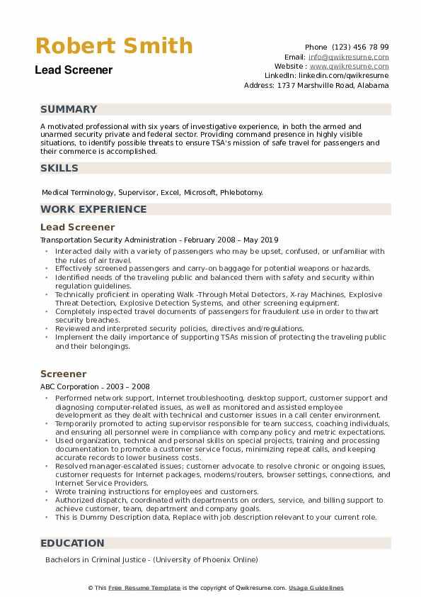 Lead Screener Resume Format