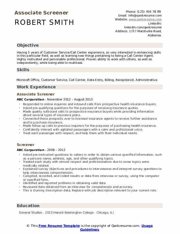 Associate Screener Resume Model