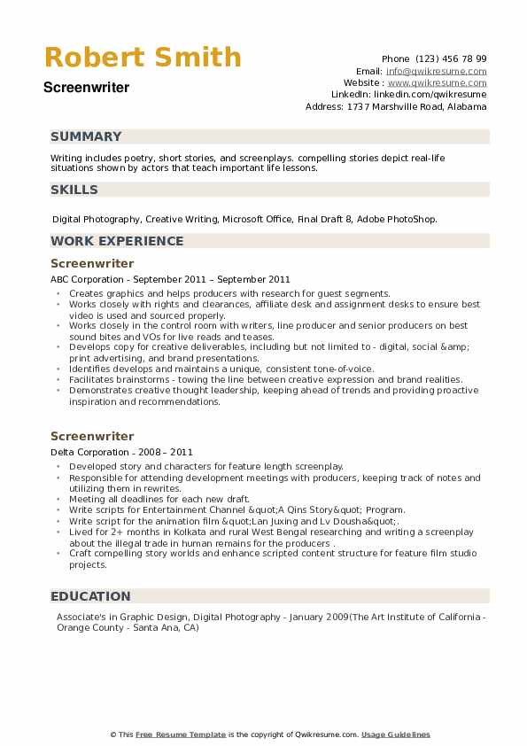 Screenwriter Resume example