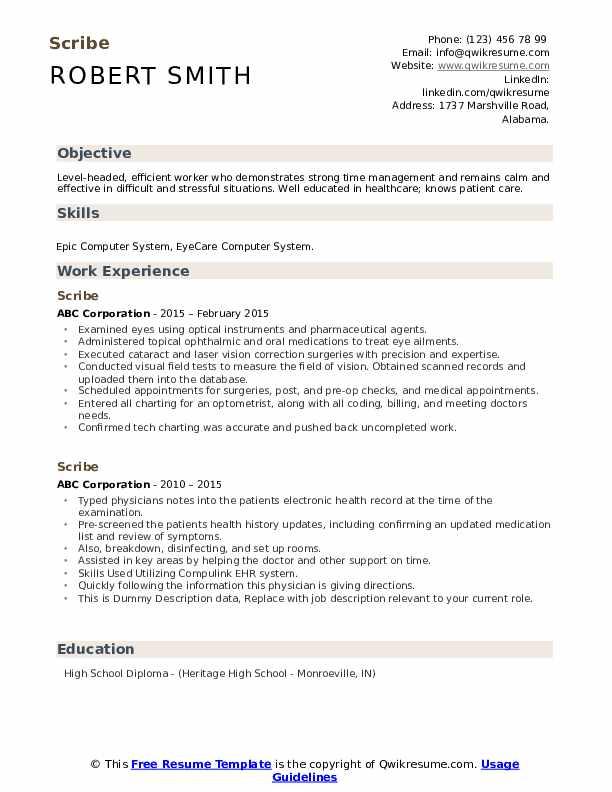 Scribe Resume example