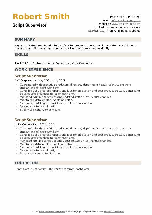 Script Supervisor Resume example