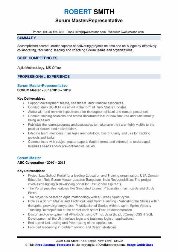 Scrum Master Resume Samples | QwikResume