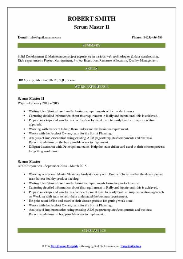 Scrum Master Resume Samples Qwikresume