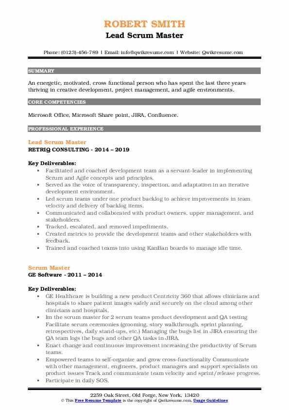 scrum master resume samples  qwikresume