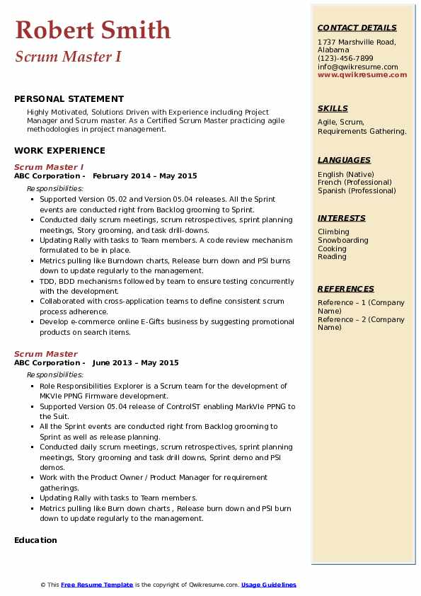 scrum master resume samples
