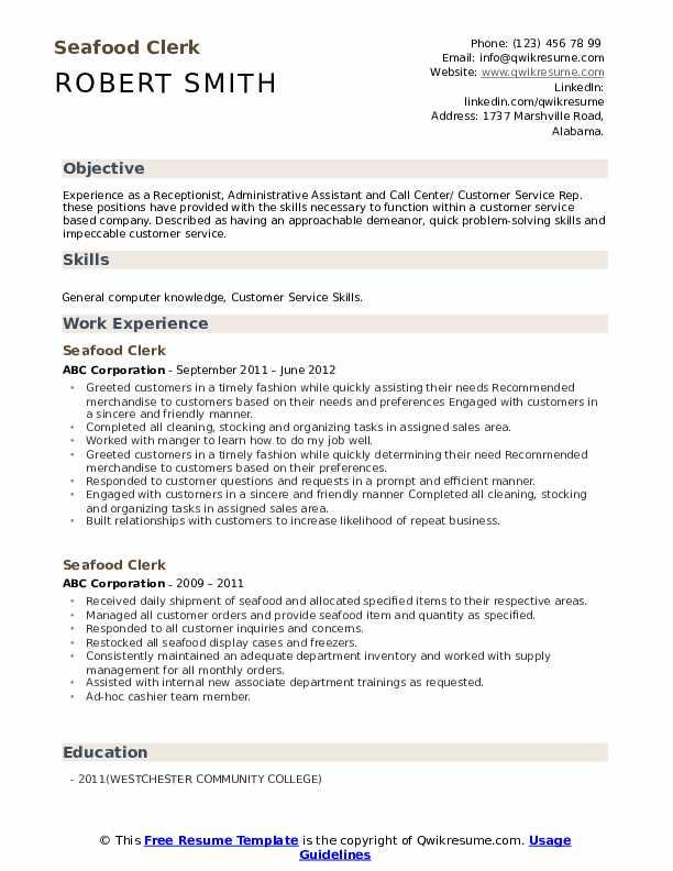 Seafood Clerk  Resume Example