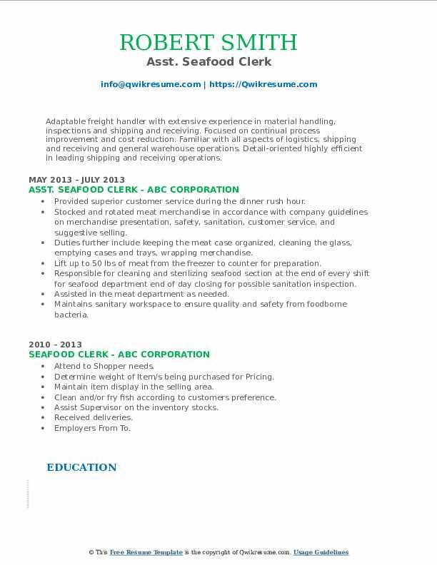 Asst. Seafood Clerk Resume Format