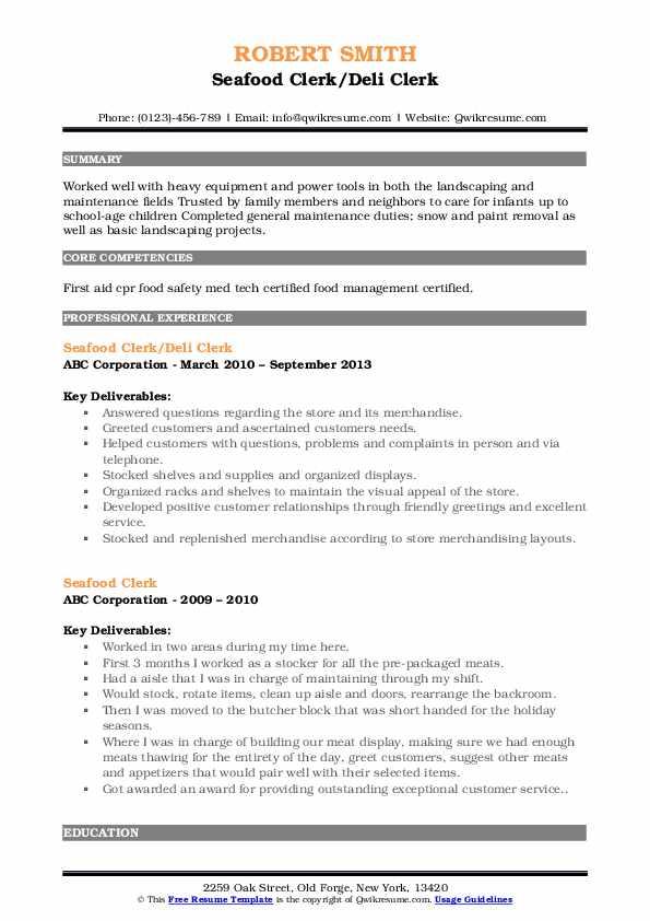 Seafood Clerk/Deli Clerk Resume Template