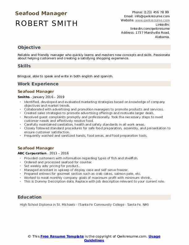 Seafood Manager Resume example