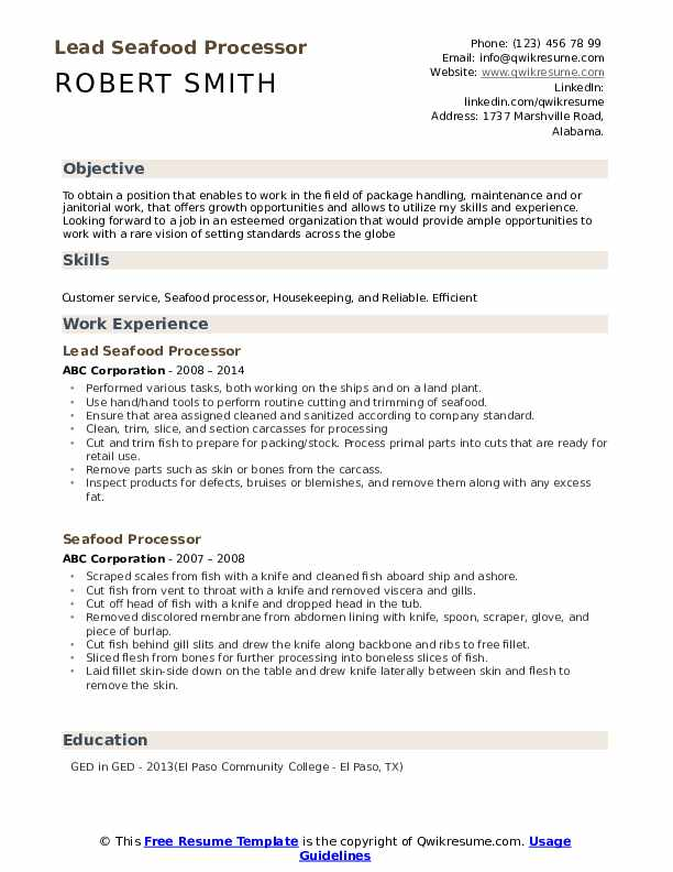 Seafood Processor Resume example