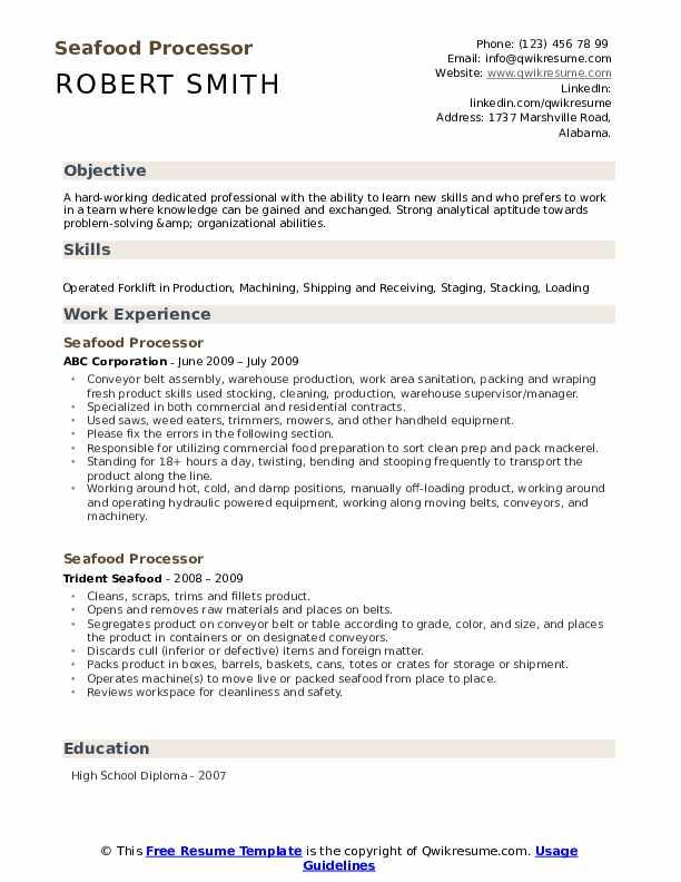 seafood processing resume