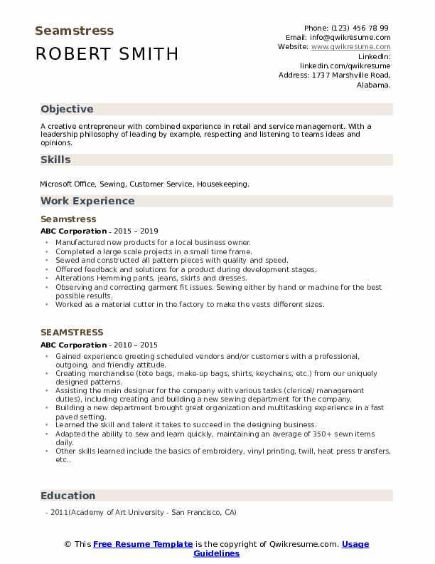 Seamstress Resume example