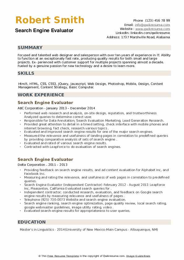 Search Engine Evaluator Resume example