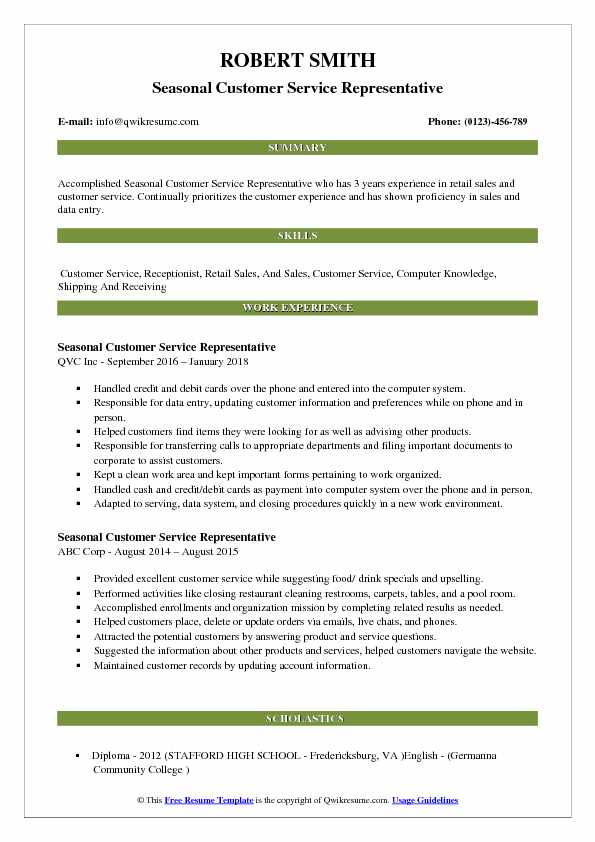 Seasonal Customer Service Representative Resume Model