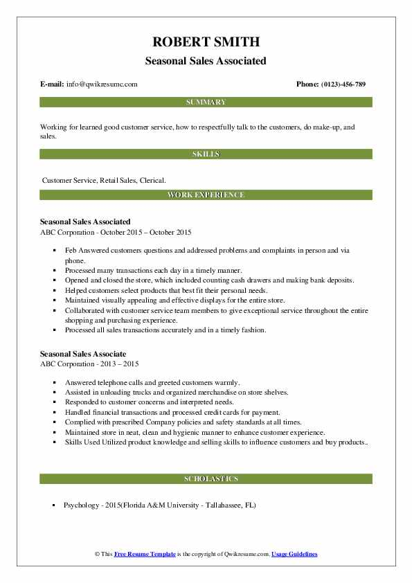 Seasonal Sales Associated Resume Format