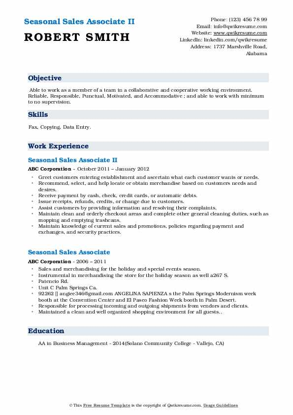 Seasonal Sales Associate II Resume Format