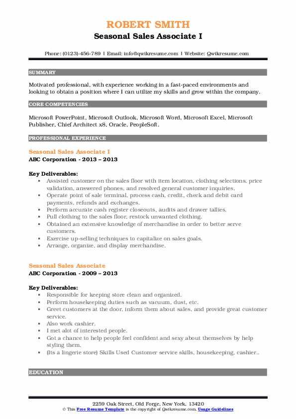 Seasonal Sales Associate I Resume Example