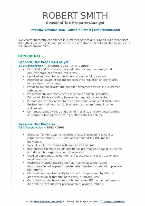 seasonal tax preparer resume samples  qwikresume