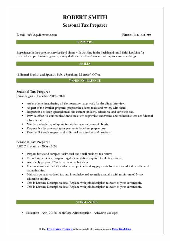 Seasonal Tax Preparer Resume example
