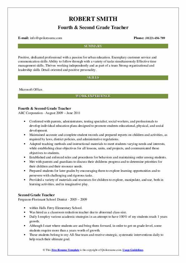 Fourth & Second Grade Teacher Resume Model