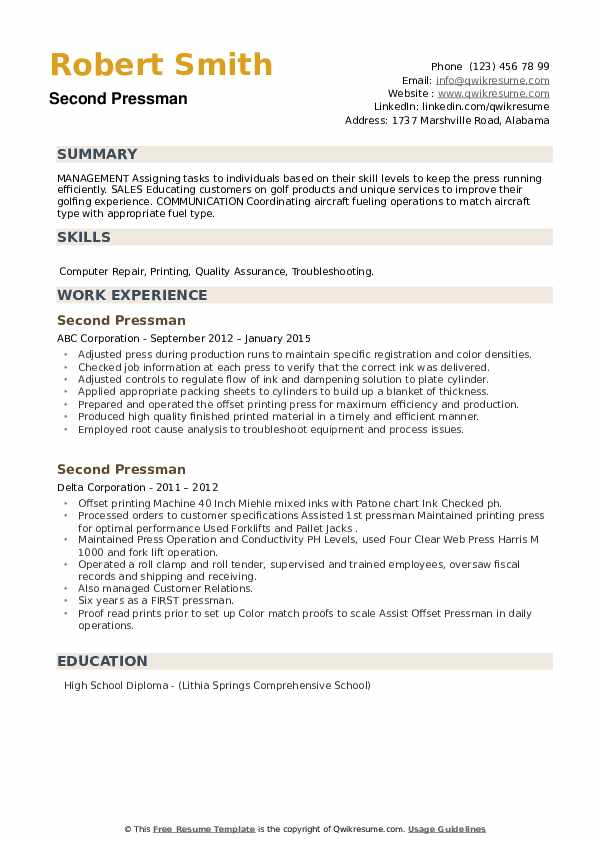 Second Pressman Resume example