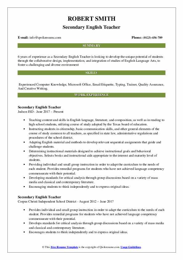 Secondary English Teacher Resume Samples | QwikResume