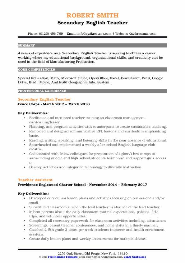 secondary english teacher resume samples