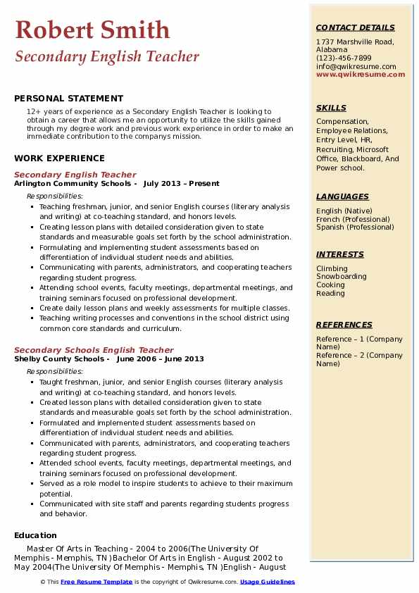 Secondary English Teacher Resume Samples Qwikresume