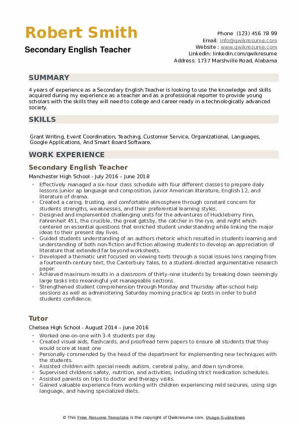 Secondary English Teacher Resume example