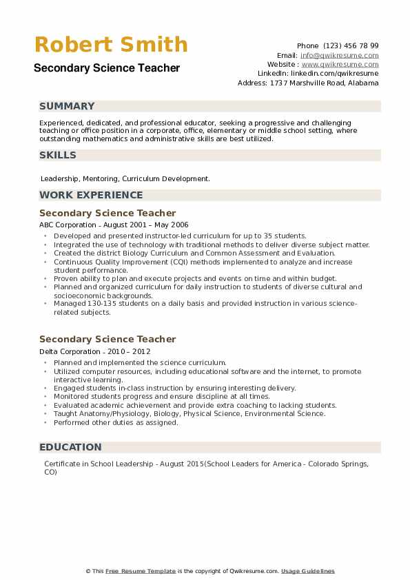 Secondary Science Teacher Resume example